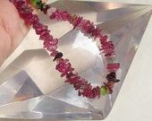 Only 1 Strand Brazilian Mostly Vivid Hot Pink Tourmaline Nugget SliceBeads Hammered Raw Rainbow Green 16 inches