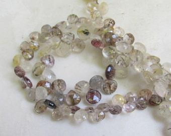 Natures Artwork Mix Moss Amethyst Gold Tourmalated Rutilated Quartz Briolette Beads 8 Inches