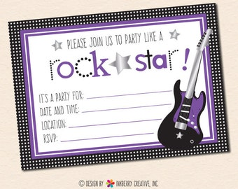 Party Like a Rockstar (Purple) Fill in the Blank Party Invitation - INSTANT DOWNLOAD PDF