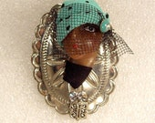 LADY ETHNIC woman Head doll FACE Porcelain-Look Resin pin brooch Figural veil rhinestones - Myrna