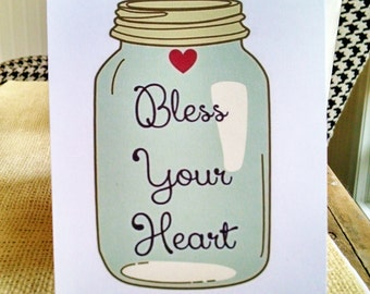 Mason Jar Bless Your Heart Notecards, Southern Notecards