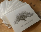 Personalized Oak Tree Thank You Cards - set of 25