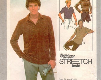 Vintage UNCUT Simplicity Pattern 8798 - Men's Pullover Top for Stretch Knits - 40-44