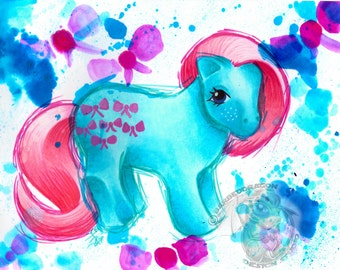 Bowtie Giclee Print My Little Pony Watercolor All Sizes Shy Pose G1 FIM