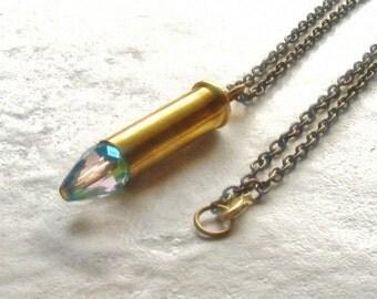 Bullet Pendant Necklace Brass Casing Crystal Ammo
