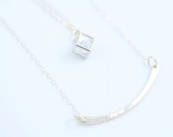 Sterling Silver Hammered Curved Bar Necklace - Simple Necklace - Layered Necklace - Minimalist Necklace - Meditate - Buddha