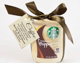 Coffee Kitchen Decor One Starbucks Frappucino Candle Coffee Fragrance Scented Candle Java Recycled Bottle Eco Friendly Gift Coffee Candle
