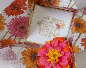 Folded Pinwheel GET WELL Greeting Card, in pink, yellow and orange with coordinating flower