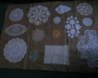 Vintage LACE DOILY And Burlap WALLHANGING Vintage Crochet Pieces Ooak Gift 40 x 56 inches with Hanging Sleeve Discount Coupon