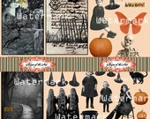 Witches Graphics and ACEO Backgrounds Digital Collage Sheet Altered Art Mixed Media ATC