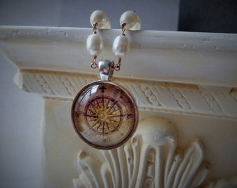 Compass Rose Necklace, Rose Gold Necklace, Hand Hammered Clasp