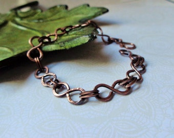 Organic Copper Infinity Link Bracelet, Hand Hammered Rustic Copper Jewelry