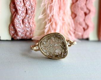 Druzy antique gold  ring 14kt gold filled - custom size - NEW COLOR