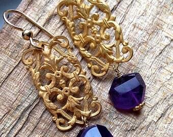 Gold chandelier drop earrings with purple amethysts
