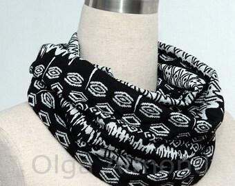 folk style black white  infinity scarf
