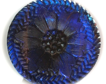 Button ~ Cobalt Glass Old Lacy - Medium