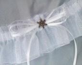 Let IT SNOW Snowflake White Silver Glitter Snowflake Accented Bridal Garter