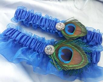 Royal Blue Peacock Garter Set Rhinestone Accented Sheer Peacock Feather Bridal Wedding Garter Set