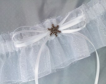 Let IT SNOW Snowflake White Silver Glitter Snowflake Accented Bridal Garter