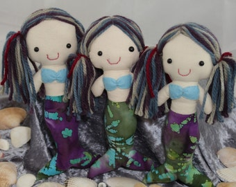 Pocket Cloth Rag Doll Mermaid, Vegan, Newborn Toy, Upcycled Fabric, Made in Australia, 8 inches.