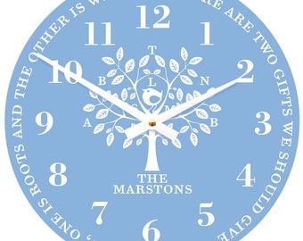 Personalised Family Tree Clock in powder blue