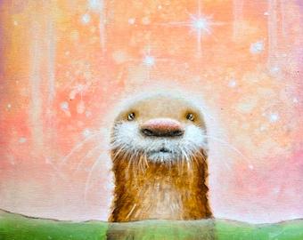 Otter Art Print - Otters - Animal Art - Nature Painting - Cute art - Art Prints - Fine Art