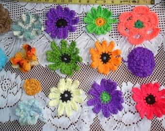 Baker's Dozen Hand crocheted Mainly Daisy Type Flowers