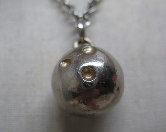 Bowling Ball Necklace Silver Vintage Pendant