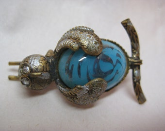 Shabby Owl Blue Brooch Jelly Belly Glass Damascene Gold Silver Pin Bird Rhinestone