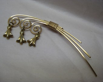 Gold Brooch Vintage Pin Dangle