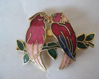 Two Birds Rose Red Brooch Gold Enamel Vintage Pin Cloisonné