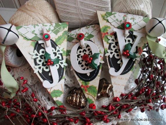 vintage christmas banner-JOY SNOWFLAKE BANNER-handmade christmas banner