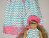 Doll and me SALE 10% off code is tiljan  Dress Aqua chevron dress America Girl dress 12,18 month 2t,3t,4t,5t,6,7,8,9,10,12 LAST ones