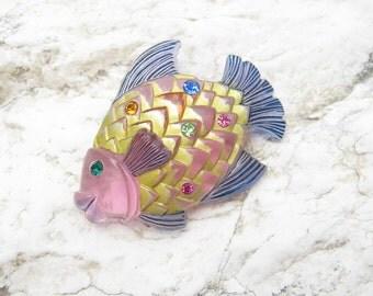 Vintage Lucite Fish Brooch Rhinestone Jewelry Book Piece P6223