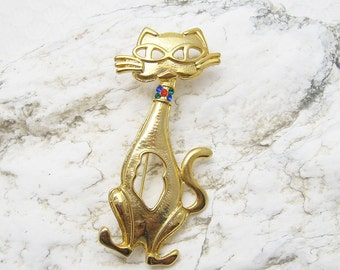 Vintage Cat Brooch Whimsical Animal Jewelry P6308