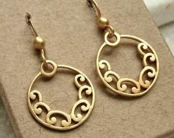 Gold Plated Chandelier Earrings 24K Vermeil Style Earwires Scrolled Circle - Pair