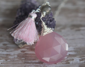 Pink Chalcedony Pendant, Sterling Silver, Boho Teardrop Necklace, Gray Labradorite, Wire Wrapped, Pink Bohemian Tassel, Faceted Briolette