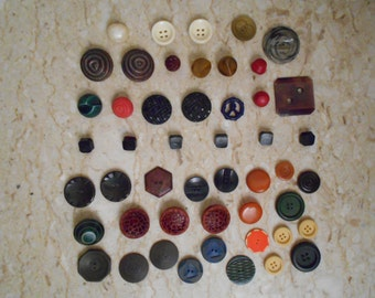 vintage MOD Buttons LOT - Beautiful Carved Bakelite Buttons and 3D Buttons Craft