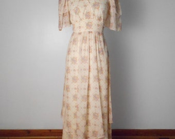 vintage Romantic Maxi Empire Dress With Two Tiered Sleeves and Skirt - Empire Waistband  BOHO