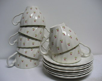 7 Laura Ashley Johnson Brothers Cups and Saucers