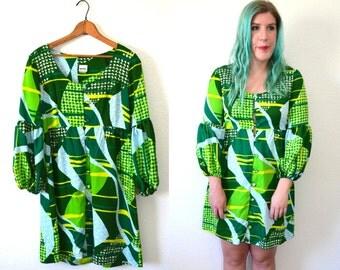 1970s Dress - Emerald Green Dress - 70s Dress Disco - Bell Sleeve Dress