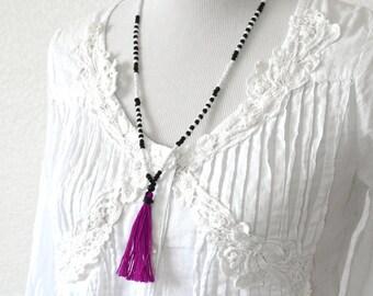 NEON PURPLE  Tassel Necklace - Neon Necklace -Extra Long Necklace - Boho Necklace
