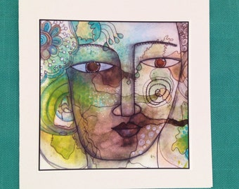 She Buddha Original Art Note Card
