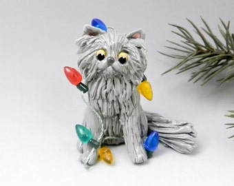 Persian Cat Blue Christmas Ornament Figurine Lights Porcelain