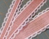 BLUSH PINK Burlap and Lace Ribbon