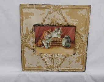AUTHENTIC Tin Ceiling 5x7 Antique White Picture Frame Reclaimed Photo S2306-14