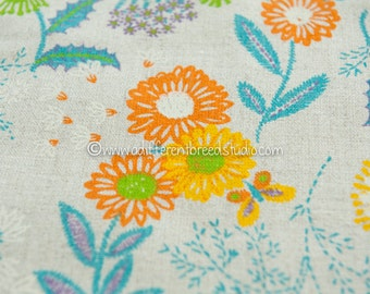 Wildflowers and Butterflies- Vintage Fabric Mod Flowers Juvenile Floral Novelty