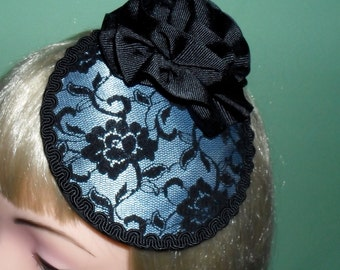 Sale was 32.00 Now 16.00 Ready To Be Shipped Black and Pale Blue Circular Lace Cocktail Hat,Bridal Hat,Lace Hat,Black Lace,Pin Up,Prom,Goth