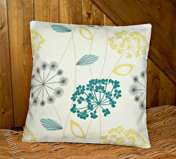 teal blue grey lemon decorative pillow cover, flower cushion cover 16 inch