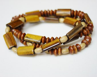 Tigers Eye and Wood Bracelets / Tigers Eye / Tiger's Eye / Wood / Beaded Bracelet Set / Stacking Bracelets / Set of 3 / Stone and Wood